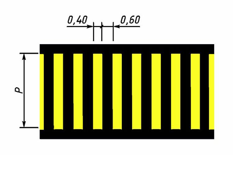 Обозначение пешеходного перехода белый+желтый (1.14.1)