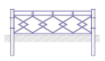 Перильное ограждение ПО-1054 (L=2м, H=1,1м)