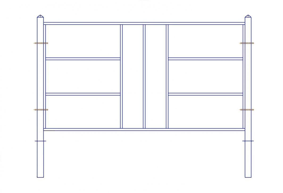 Перильное ограждение ПО-338 (L=2м; H=1,17м; Заглубление 0,47м)