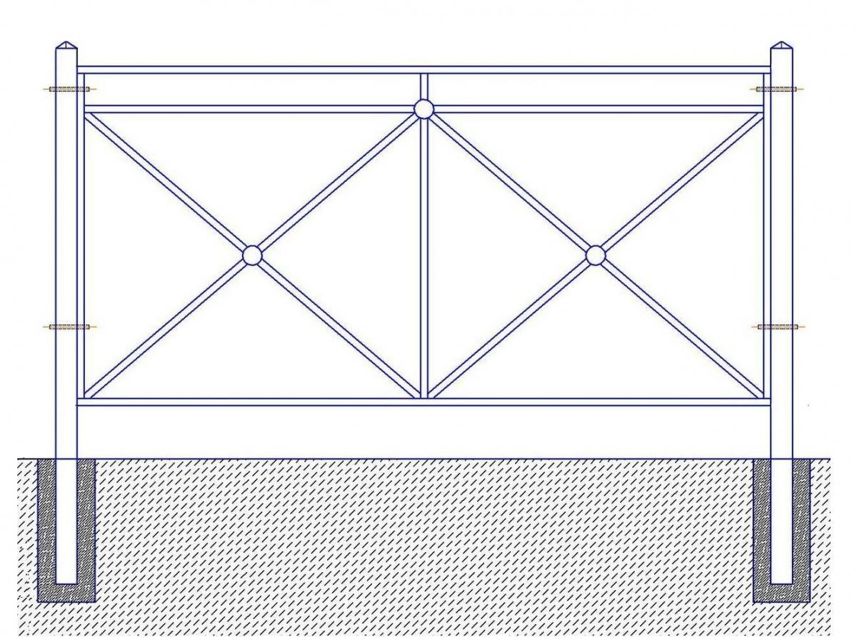 Перильное ограждение ПО-СТ-000 (L=2м; H=1,1м; Заглубление 0,47м)